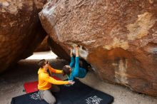 Bouldering in Hueco Tanks on 04/13/2019 with Blue Lizard Climbing and Yoga  Filename: SRM_20190413_1010230.jpg Aperture: f/5.6 Shutter Speed: 1/320 Body: Canon EOS-1D Mark II Lens: Canon EF 16-35mm f/2.8 L